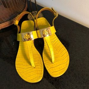 Tory Burch leather alligator embossed sandals, sz8